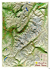 3D Relief Map Mont Blanc small 31 x 42cm