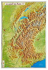 3D Reliefkarte Alpen klein 42 x 62cm