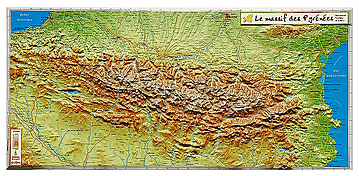 3D Relief Map Pyrenees small 62 x 31cm