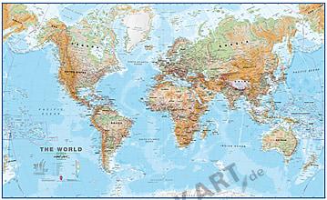 Verdenskort fysisk 1:30 Mio