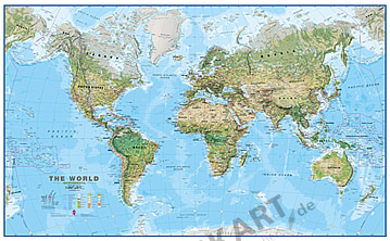 Physikalische Weltkarte XXL englisch 275 x 170cm