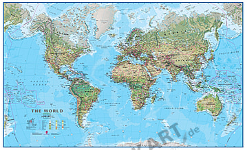 Physical World Map 1:30 Mio - Magnetic Board