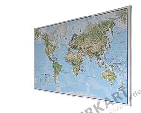 Weltkarte physikalisch auf Canvas 90 x 60cm