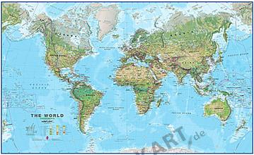 Physical World Map environmental 1:30 Mio 136 x 82cm - pinboard