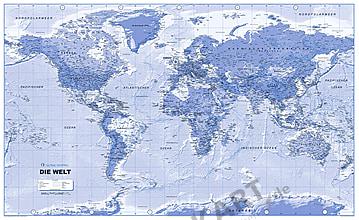 Politische Weltkarte als Vliestapete in Blau