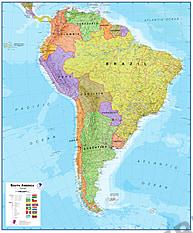 Politisk kort over Sydamerika