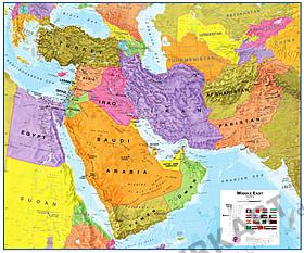 Mellemøsten kort som en plakat