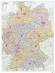 Postcode Wall Map Germany (XL size)