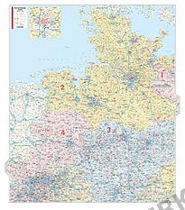 Postnummer Kort Nordtyskland og Vesttyskland