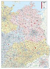 Postnummer Kort nordlige og østlige Tyskland 110 x 153cm
