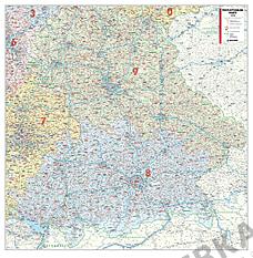 Postnummer Kort Bayern 110 x 112cm