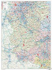 Postnummer Kort Rheinland Pfalz / Saarland 98 x 130cm