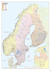 Postleitzahlenkarte Skandinavien 92 x 127cm