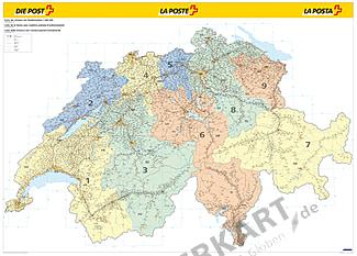 Schweiz Postleitzahlen PLZ Karte 140 x 100cm