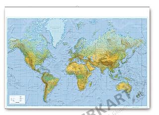 Physikalische Weltkarte mit Leisten 138 x 90cm