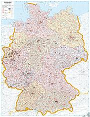 Postleitzahlenkarte Deutschland 98 x 139cm - Magnetwand gerahmt