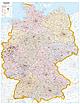 Postleitzahlenkarte Deutschland 98 x 139cm - Pinnwand gerahmt
