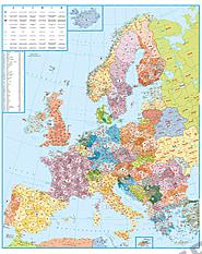 Postnummerkort over Europa 98 x 123cm