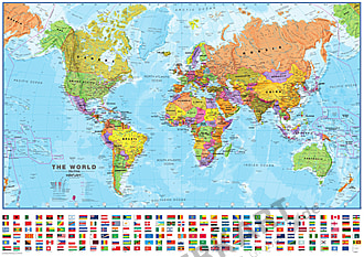 Political World Map with Flags 1:40 Mio 102 x 72cm