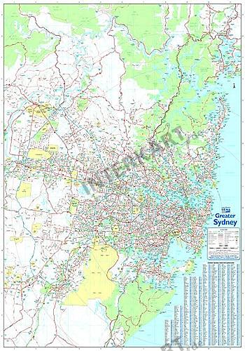 Greater Sydney Wall Map 70 X 100cm
