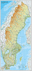 Schweden Karte (Standardformat) 54 x 122cm