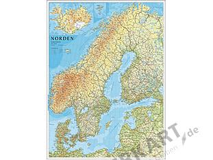 Nordeuropa Skandinavien Karte 75 x 100cm - Kartbutiken
