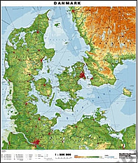 Dänemark physikalische Landkarte 70 x 82cm
