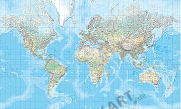 Fysisk verdenskort (stort format) 200 x 123,5cm