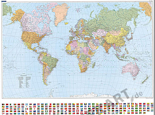 Politische Weltkarte 1:30 Mio (K+F) mit Flaggen 140 x 99cm