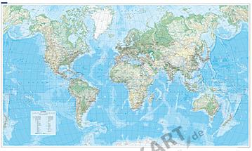 Verdenskort Fysisk Atlanterhavsudsigt 1:30 Mio 140 x 82cm
