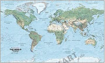 Physikalische Weltkarte 1:40 Mio 99 x 61cm