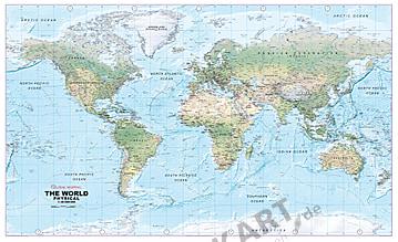 Physikalische Weltkarte 1:30 Mio mit Zeitzonen