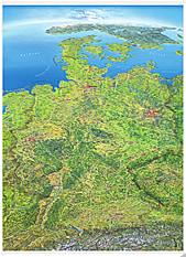 Panoramakarte Deutschland mit Holzleisten 123 x 175cm