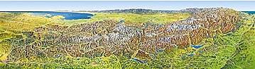 3D Alpen Panorama Karte 214 x 60cm
