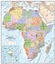 Politische Afrika Karte - Afrika Kontinent Karte als Poster Wandkarte