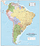 Political Wall Map South America