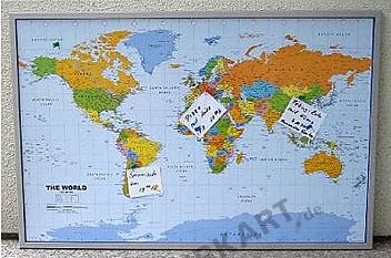 Politische Weltkarte auf Kork Pinnwand englisch 90 x 60cm