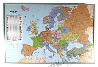 Politische Europakarte in englisch auf Kork Pinnwand 90 x 60cm