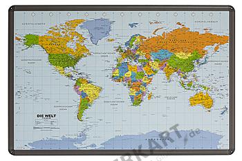 Worldmap german on Pinboard Cork Aluframed