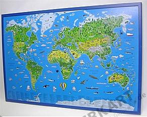 Kinderweltkarte als Kork Pinnwand 90 x 60cm