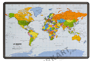 World map political (french) as cork pinboard with aluminum frame 90 x 60cm
