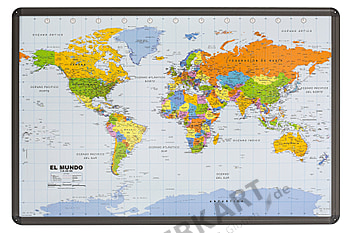 World map politically (spanish) as cork pinboard with aluminum frame 90 x 60cm