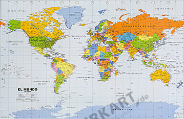 World Map political spanish 90 x 60cm