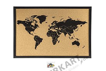 Cork pinboard world map black 60 x 40cm