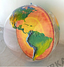 Topographical inflatable globe with Earth's core - 36 inch