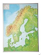 3D Relief Map Scandinavia 57 x 77cm