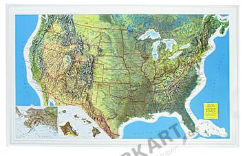 3D Reliefkarte USA Poster