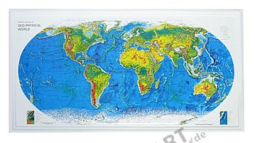 3D Relief Weltkarte, Rand Mc Nally
