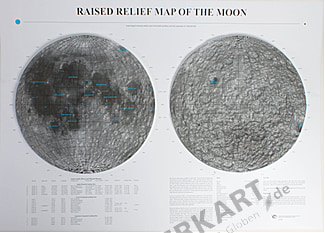 3D Raised Relief Moon Map Poster