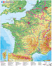 Frankreich Landkarte physikalisch